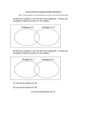factors and multiples by chughes1155 teaching resources