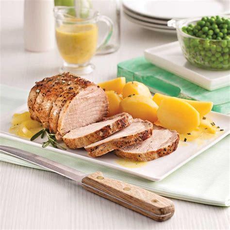 cuisine roti de porc rôti de porc à l 39 ail et patates jaunes recettes