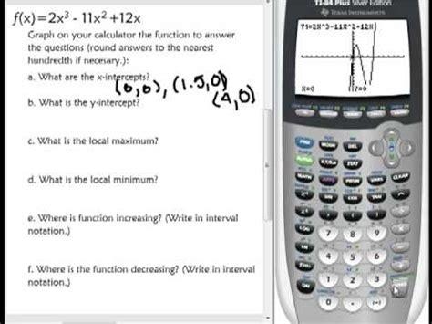 graph  calculator  find  intercepts  intercept local max  min increasing