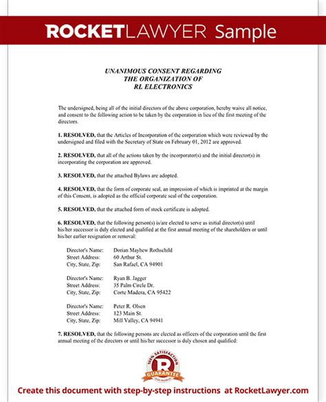 board resolution template board  directors resolution