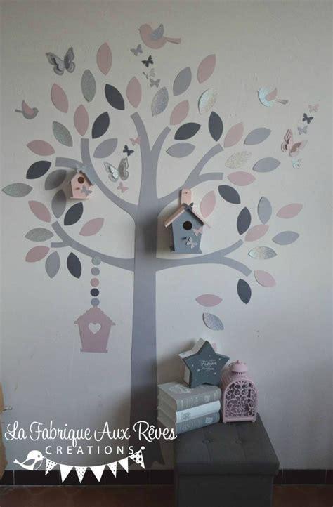 chambre gris et aubergine stickers arbre poudré argent gris clair gris