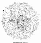 Tropical Freehand Algae Midst Coloring sketch template
