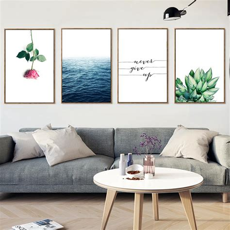 sea flower inspirational quote canvas posters landscape