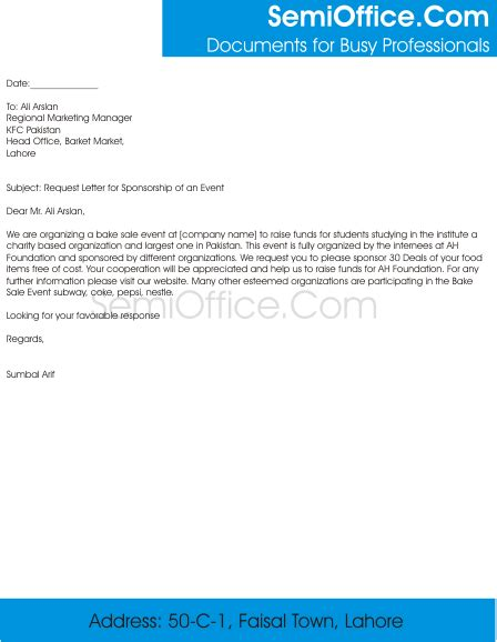 request letter  sponsorship  food items