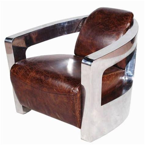 fauteuil vintage en cuir vieilli italien et inox ponza