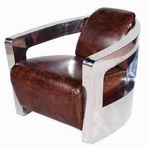 fauteuil vintage en cuir vieilli italien et inox ponza With fauteuil design italien cuir
