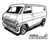 Ford Rod Vans Clipart Econoline Van Cars Clip Drawings Custom Coloring Pages 1974 Chevrolet Rods Truck Automotive Classic Drawing Cartoon sketch template