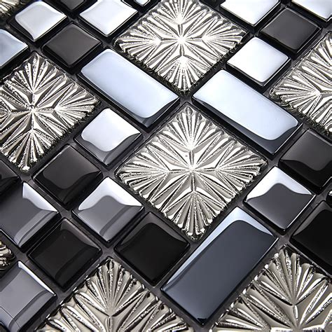 Metal Coating Mosaic Tiles Art Design Glass Tile Bedroom