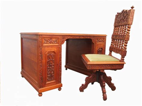 vintage carved wooden colonial writing desk and chair set