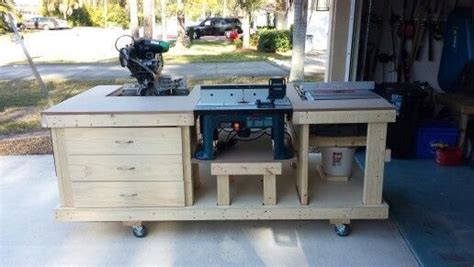 workbench including table  miter  router  drawers  shelves  plan  add dust
