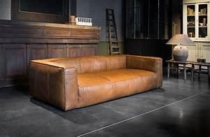fauteuil trois places en cuir cognac meuble mobilier With fauteuil trois places