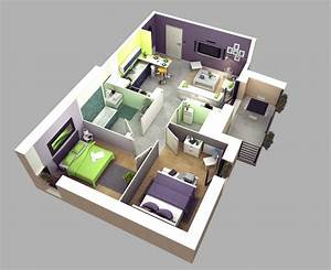 50 3D FLOOR PLANS, LAY-OUT DESIGNS FOR 2 BEDROOM HOUSE OR ...