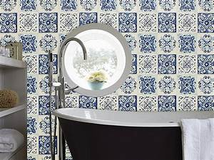 wallpaper john39s moroccan tile effect in blues cream With washable wallpaper bathroom