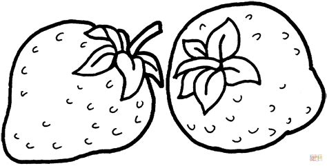 Coloring Strawberry by Two Strawberries Coloring Page Free Printable Coloring Pages