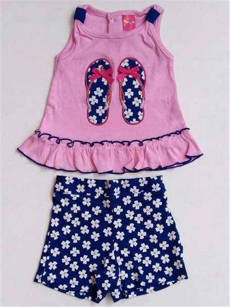 jual baju setelan anak bayi perempuan kaos sandal celana pendek bunga 1115 di lapak chelsea
