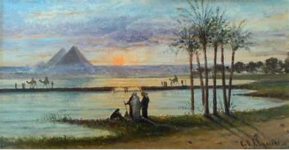 Nile River Wikimedia Egypt Painting Pyramids Mancini
