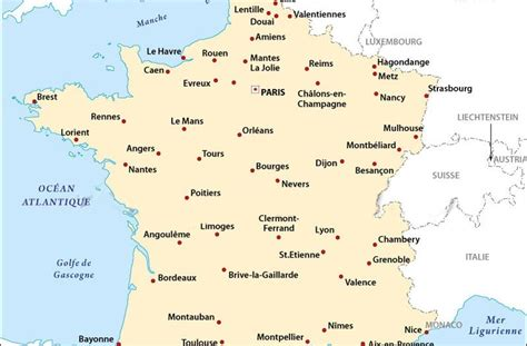 Carte De Avec Villes Principales by Carte De Villes Principales