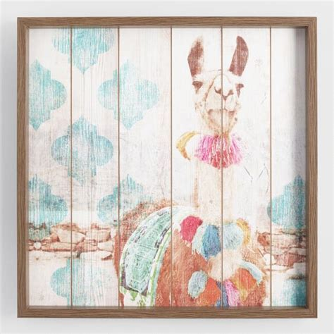 Happy Llama Framed Print on Wood Wall Art   World Market