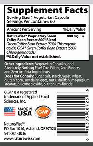 Amazon Com  Naturewise Green Coffee Bean Extract 800 With Gca Natural Weight Loss Supplement  60