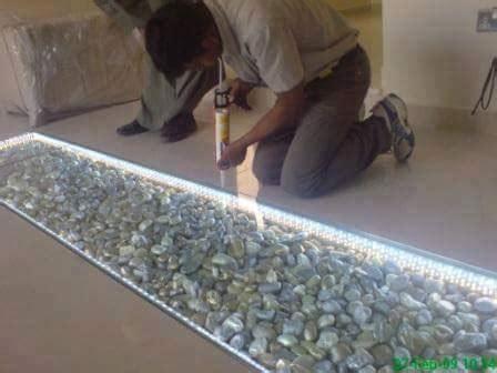 decorating  floor   creative river stone idea