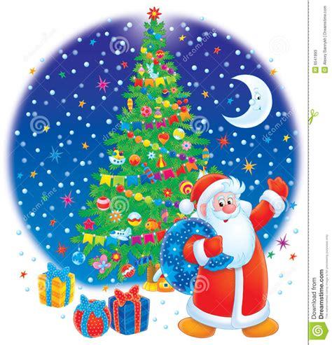 santa clause and christmas tree stock illustration image