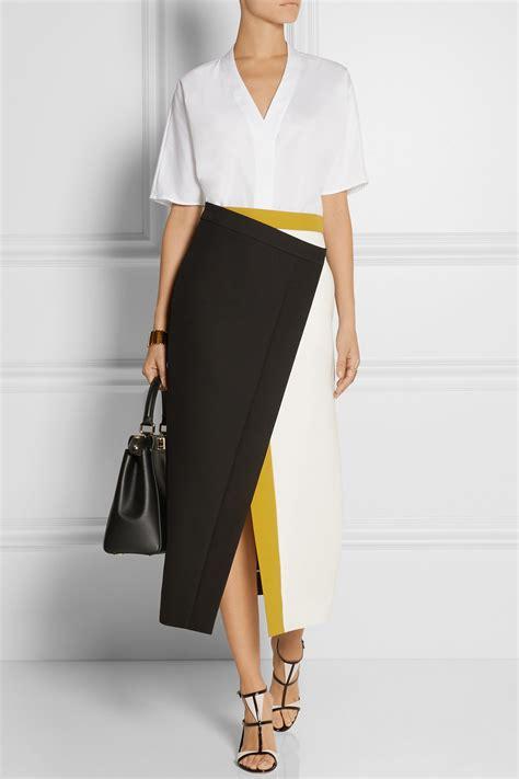 Lyst Fendi Color Block Cotton Crepe Wrap Skirt Yellow