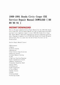 1988 1991 Honda Civic Coupe Crx Service Repair Manual