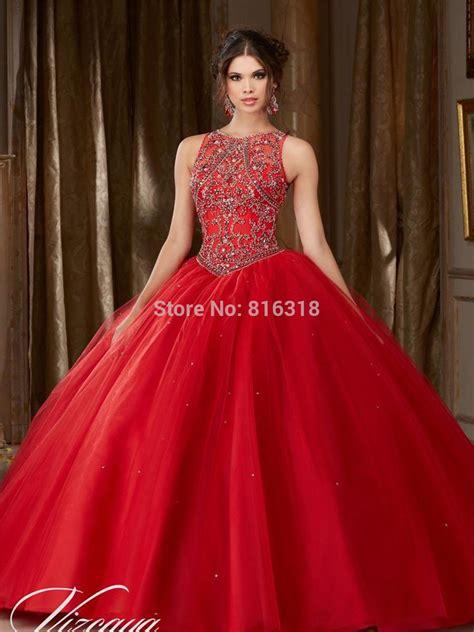 red quinceanera dresses  open  rhinestone beaded
