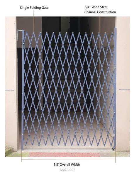riveted expandable metal security gate folding scissor gates  bracket  open