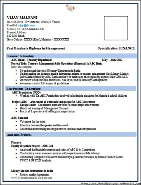 standard resume format for freshers doc