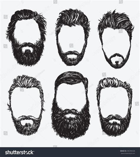 Hipster Hair Beards Fashion Vector Illustration Stock ...