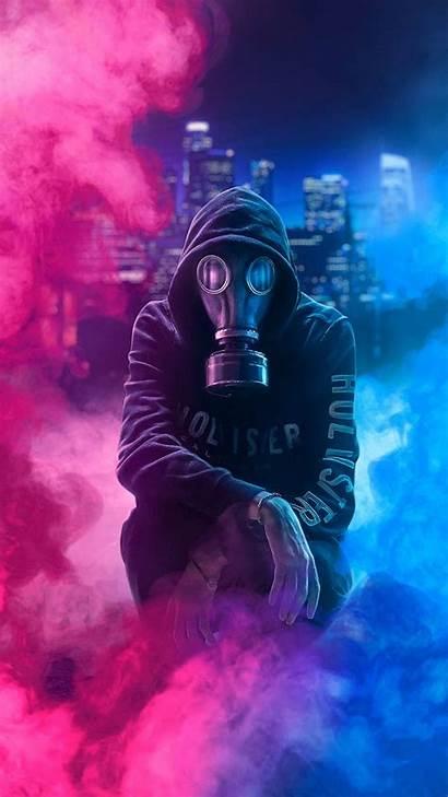 Smoke Mask Neon 4k Digital Gas Hoodie
