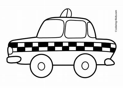 Taxi Coloring Pages Transportation Clipart Printable Colouring