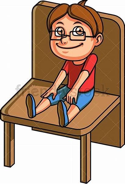 Sitting Chair Boy Cartoon Clipart Down Clip