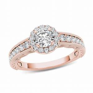 1 CT TW Diamond Frame Vintage Style Engagement Ring In