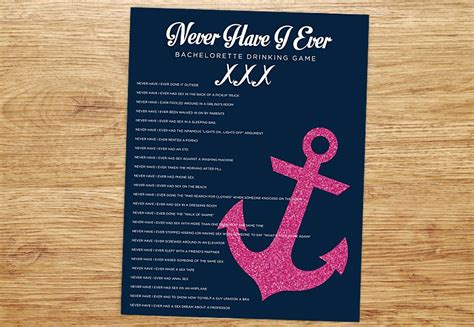 Bachelorette Party Game Never Have I Ever Nautical Glitter