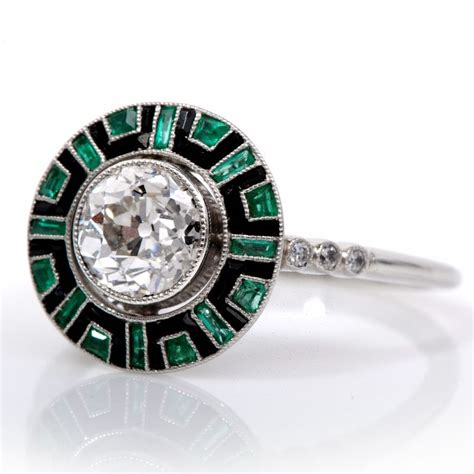 ct antique deco diamond emerald onyx engagement ring