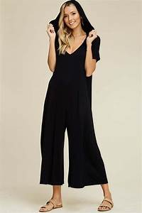 Georgia Hooded Cropped Jumpsuits Black Gozon Boutique
