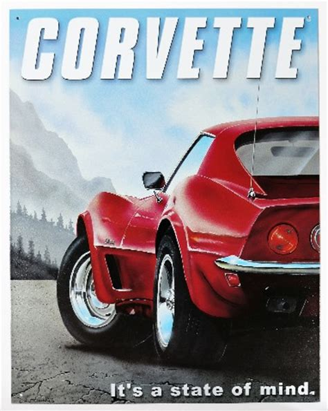chevy corvette   state  mind tin metal sign