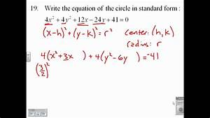 Write The Equation Of A Circle In Standard Form 9 1 19