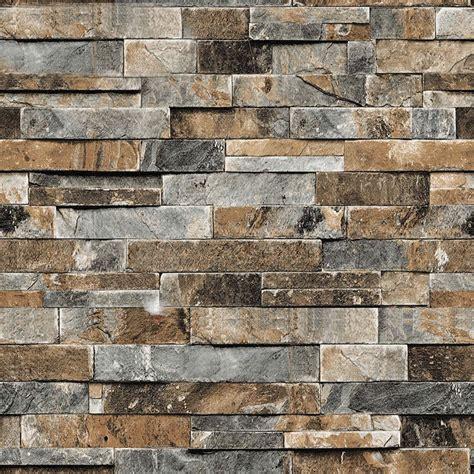 pvc waterproof vintage stone brick pattern wallpaper