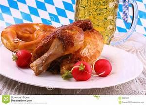 Oktoberfest Chicken And Radish, Pretzel, Beer Stock Photo ...