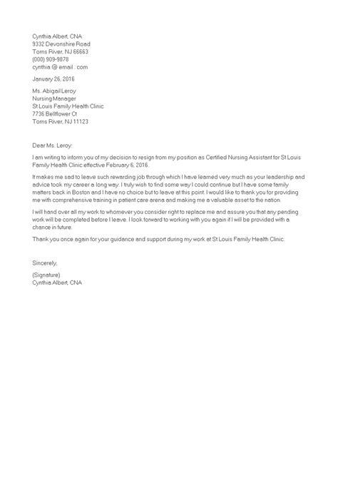 Resignation Letter For Nursing Assistant - Sample Resignation Letter