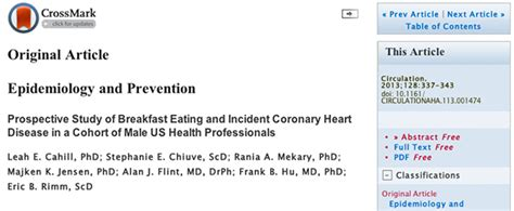 Prospective Study Of Breakfast Eating And Incident Coronary Heart Disease In A Cohort Of Male Us