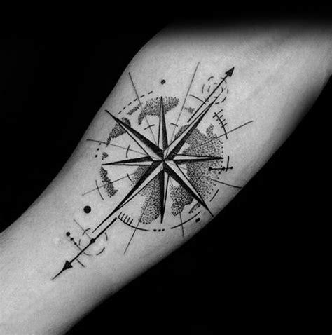 small compass tattoos  men navigation ink design ideas