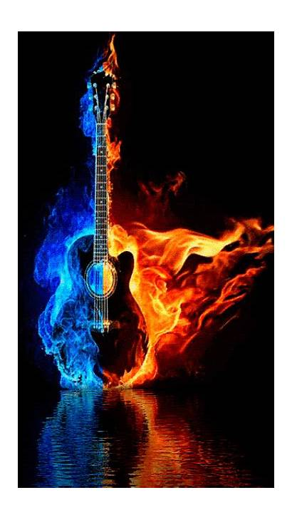 Animated Guitar Burning Fire Ice Flame Cool
