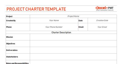 project charter template project management small