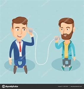 Young friends talking through tin phone. — Stock Vector ...