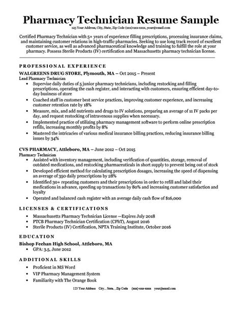 Pharmacy Technician Resume Objective by Pharmacy Technician Resume Sle Tips Resumecompanion