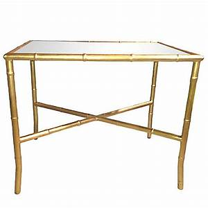 gold gilt faux bamboo and mirror cocktail table for sale With gold and mirror coffee table